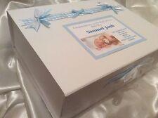 Extra Large Photo Personalised Baby Boy Keepsake Memory Box Christening Gift