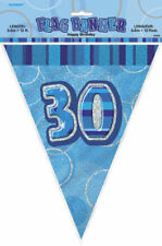 30th Blue Glitz Bunting - 12ft Long - Plastic Party Pennants Flag Banner