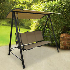 Porch Swing With Canopy Cover Patio Outdoor 3 Person Seat Bench Steel Frame NEW