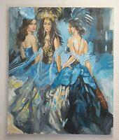 YURI DENISSOV b1962 Burlesque Dancers large signed original canvas oil painting