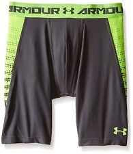 Under Armour HeatGear Shorts Armour Up Boys Fitted Green Graphite Gray YXL