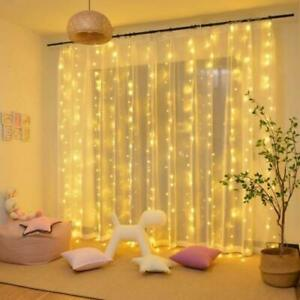 300 LED Curtain Icicle Lights String Fairy Light Party Garden Decor 10FT*10FT US