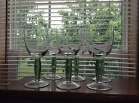 Nice vintage green lustre stem 10 oz crystal goblets glasses