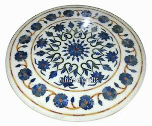 Round Marble Center Table Top Inlay Coffee Table with Lapis Lazuli Stone 30 Inch