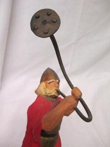 Vintage Henning Norway Carved Wooden Figure Viking Blowing Large Horn