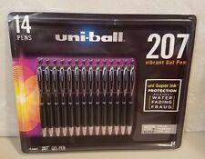Pack of 14 Uni-Ball 207 Bold Vibrant Gel Pens .7mm Black - NEW
