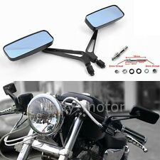 BLACK RECTANGLE MOTORCYCLE MIRRORS FOR HARLEY DYNA FATBOY SPORTSTER XL 883 1200