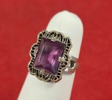 Art Deco Sterling Silver Filigree Faux Amethyst Purple Glass Ring JJ White 4.5