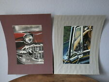 2x Early Work PAINT of a Car Designer 80's automobile Etude Glasses & Lights