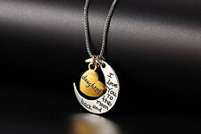 GirlZ! I Love You To The Moon & Retro Moon Heart Pendant Necklace - Daughter
