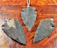 Arrowhead Necklace Carved Black Agate Pendant W14 Healing Crystals And Stones