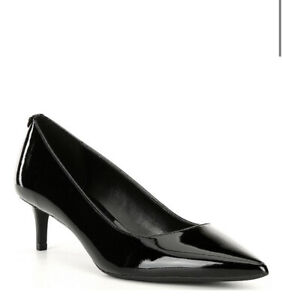 Women MK Michael Kors Sara Flex Kitten Pump Patent Upper Black