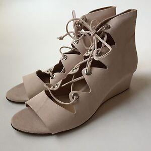JCrew $198 Suede Laila Lace Up Wedges Shoes 9 desert pink e7658