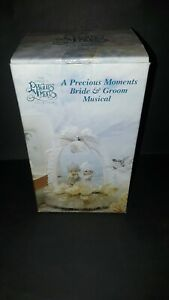 Vintage Precious Moments Bride and Groom Musical Cake Topper NOS