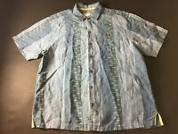 Tommy Bahama Mens Blue Striped Front Pocket Button Front Linen Shirt Size XL
