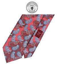 Ermenegildo Zegna Recent Red Tie - Blue Silver Paisley Floral On Red 100% Silk