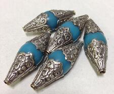 Beads Blue Bakelite Silver Embellished Tibetan Bead