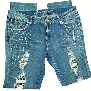 GRACE IN LA Distressed Jeans Rhinestone Crystal Embellished 11 / 12 / 31.5x30
