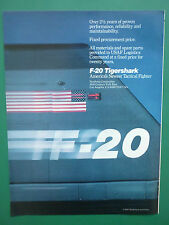6/1985 PUB NORTHROP F-20 TIGERSHARK USAF TACTICAL FIGHTER ORIGINAL AD