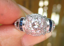 Vintage 1.04 ct Diamond and Sapphire ring in platinum