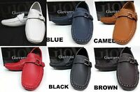 Men's GIOVANNI faux leather slip on shoes black white red blue style 9516 M9522
