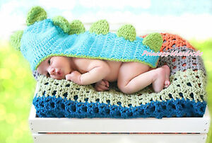 Newborn Baby Blue Lizard Dinosaur Crochet Long Tail Hat Photo Prop Costume NB-6M