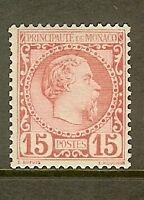 "MONACO STAMP TIMBRE N° 5 "" PRINCE CHARLES III 15c ROSE 1885 "" NEUF xx TTB"