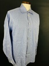 Q67 IKE BEHAR 120's 2-Ply Dress Shirt Men 17 34/35 Blue Plaid Check Button Front
