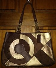 Coach Rare Inlaid Patchwork Chocolate Brown Gold Leather Signature Maggie Mia