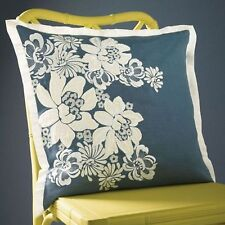NEW SFERRA PROMENADE MIDNIGHT BLUE DECORATIVE PILLOW WHITE SILK EMBROIDERY 20x20