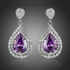 Purple Cubic Earrings Long Drop Austrian Crystal Chandelier Pear Drop Earrings