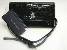 Tommy Hilfiger Black Embossed Logo Crossbody Tri-Fold Wallet - New With Tags!