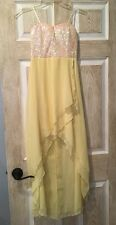 New Charlotte Russe Dress, SIZE XS, Short Front, Long Back, Yellow, Sequin