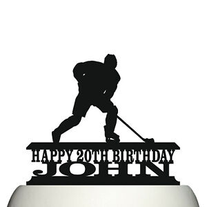 Personalised Acrylic Ice Hockey Birthday Cake Topper Decoration & Keepsake Gift