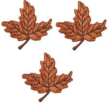 Autumn Leaf Applique Patch - Orange and Brown (3-Pack, Small, Iron on)
