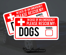 x2 Dog Pet Emergency Rescue Sticker Decal - Fire safety First Responder 5""