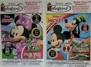 1 - Mickey Mouse & 1 - Minnie Mouse Colorforms Sticker Story Adventure Sets New