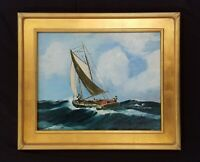 Antique Sailboat on the Seas Painting on wood Maritime Seascape
