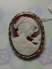 Red agate cameo in 18karat japan gold gold setting