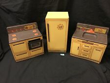 VINTAGE WOLVERINE SUNNY SUZY TIN OVEN STOVE SINK AND REFRIGERATOR KITCHEN SET