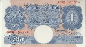 BANK OF ENGLAND BANKNOTE 1 PB249 1940 UNC J69D 166375 PEPPIATT
