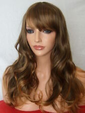 Light Brown Ombre Bronze Adult Wavy Party Fashion Womens Costume Fringe wig G-3