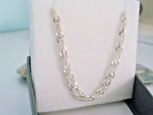 Solid 925 Sterling Silver Double Chain Bracelet, Pretty Sparkling Gift for Women