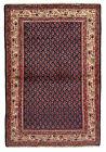 Vintage Tribal Oriental Mir-Seraband Rug, 4' x 5', Blue/Ivory, All wool pile