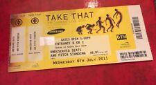 Take That Ticket & Stub Progress Live Tour 2011 Wembley London 6th July
