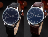 Geneva Mens 40mm Blue/Black Quartz Dress Formal Watch Brown or Black Strap 3ATM