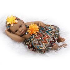"Mini Black Doll 11"" Girl Lifelike Reborn Baby Waterproof Silicone Baby doll Toy"