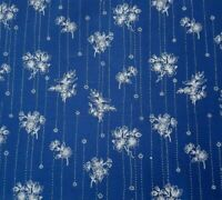 Etchings BTY Fabri-Quilt Floral Bouquets Stripe White Dark Royal Blue