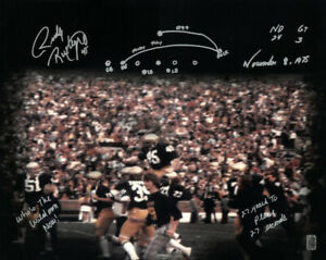 Rudy Ruettiger signed Notre Dame 16x20 Photo w/ Play /ND 24-GT 3/Nov 8,75- RUDY