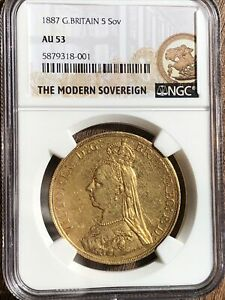 1887 - Victoria Jubilee Gold Five Pound £5 Sovereign Gold Coin. NCG AU53